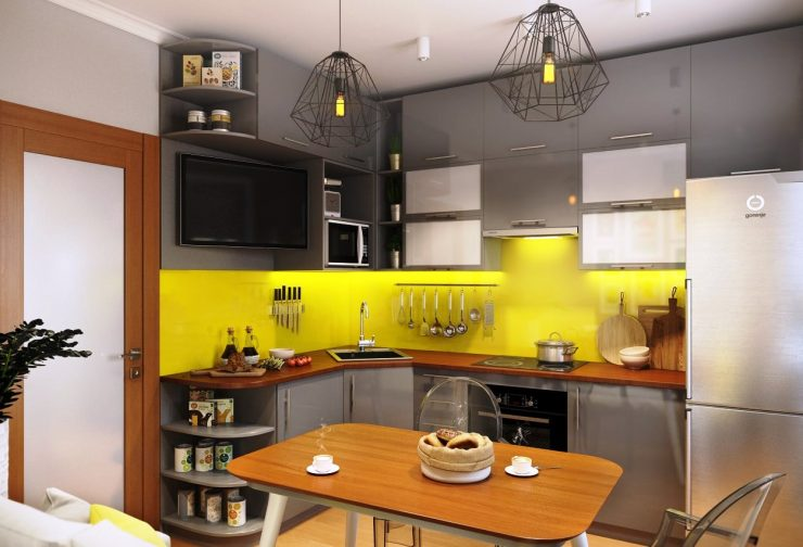 Серая кухня с желтым фартуком