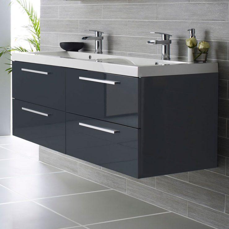 Стеклянная мебель в ванную ванная комната фото черный