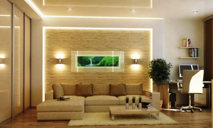 Дизайн стены за диваном